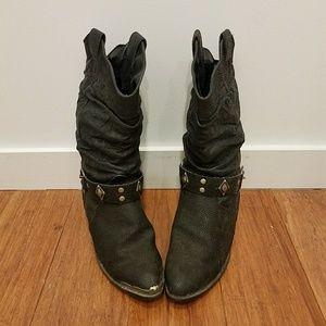 60d3af7fbf525 Shoes | Vintage 80s Black Harness Western Ankle Boots 9 | Poshmark